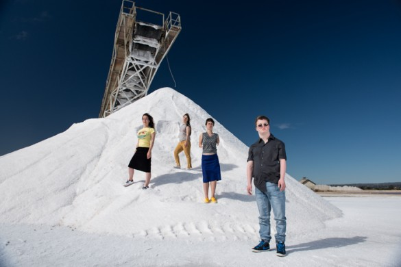 The cast from salt pose on a salt pile at the salt refinery
