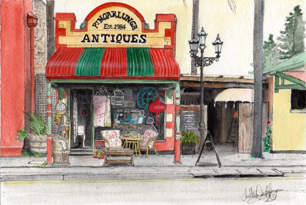A watercolour picture of Pt. Noarlunga Antiques in Port Noarlunga by Chelle Destafano.