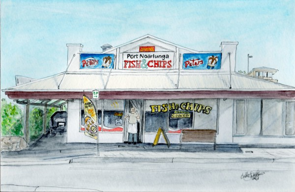 A watercolour picture of the Fish & Chip Shop in Port Noarlunga by Chelle Destafano.