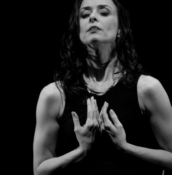 A black and white image of Michelle Ryan during her performance of 'Falling'