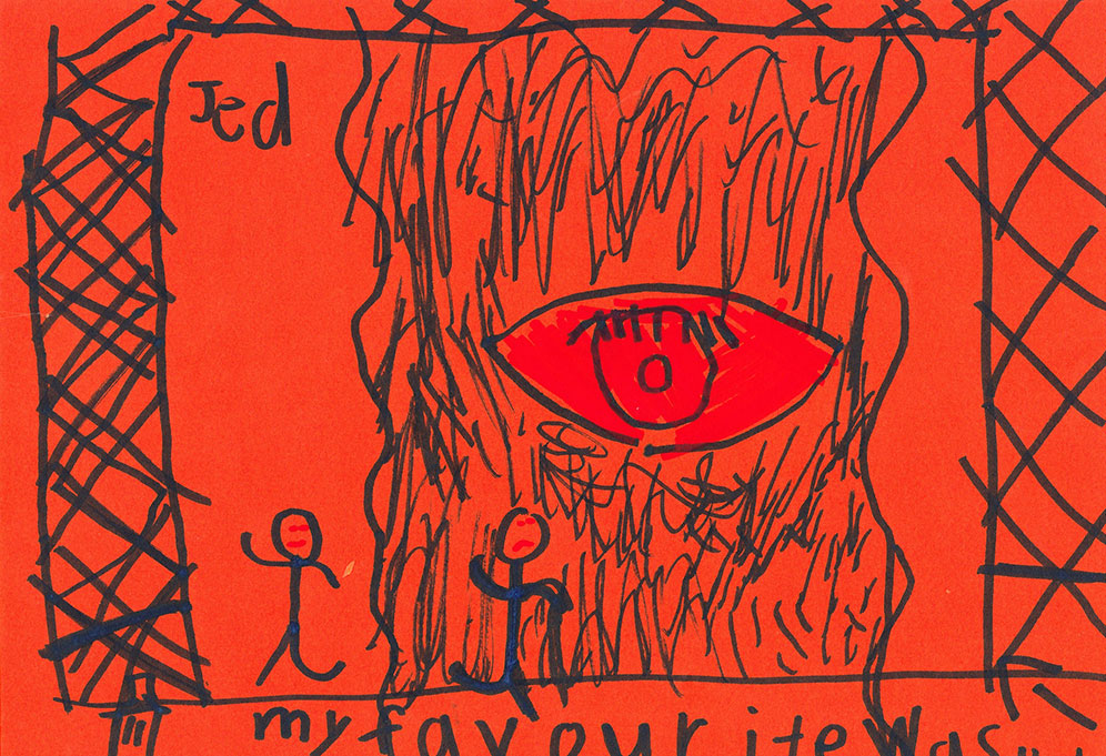 A child's drawing on orange paper depicting two figures running under the watch of a giant red eye.