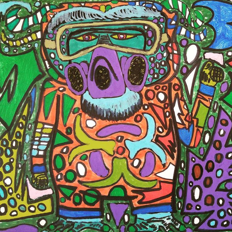 A Big Fat Orangutan in a Biohazard Suit Feeling Happy and Putting His Thumbs Up, bright acrylic and ink makers on paper,