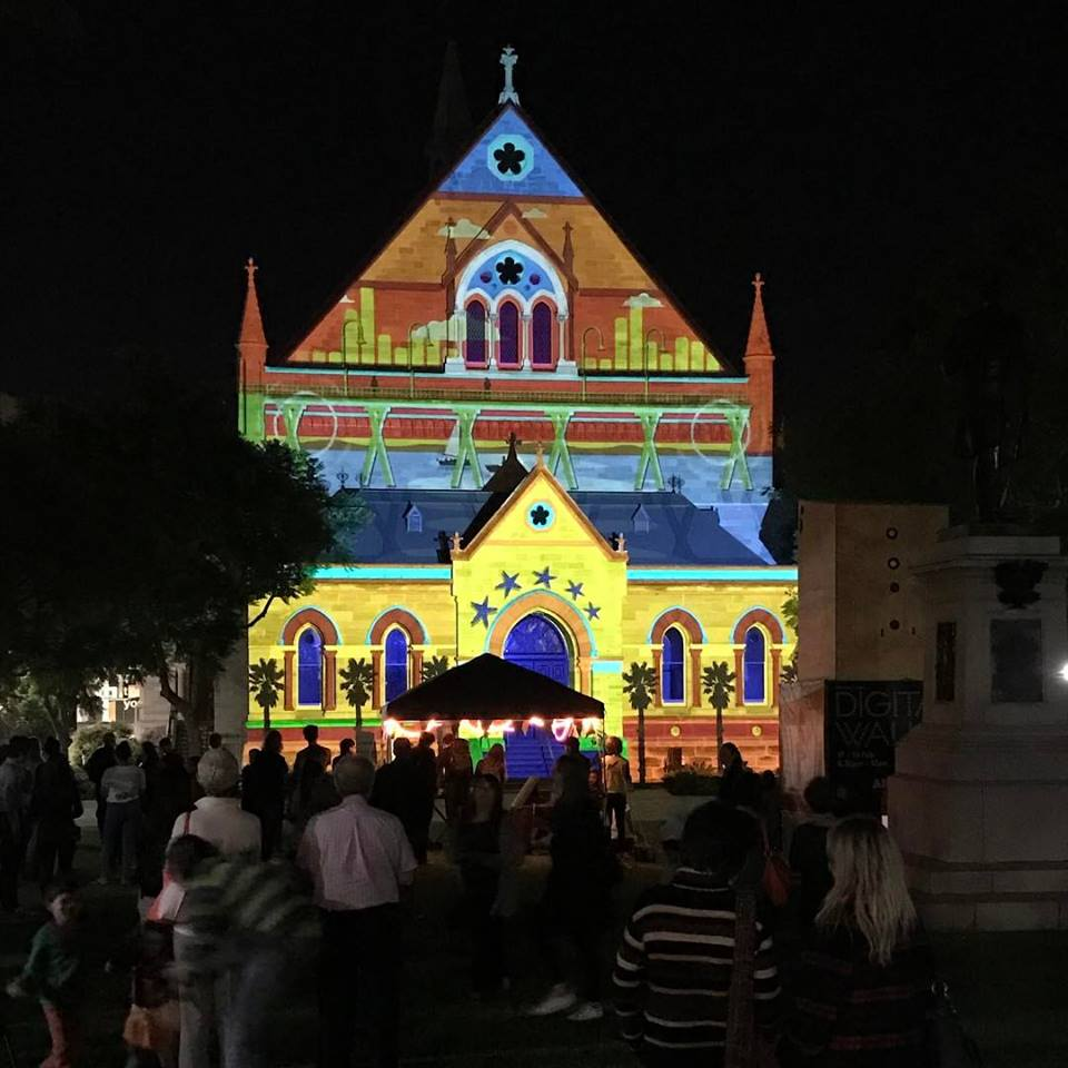 Colour projections on Elder Hall