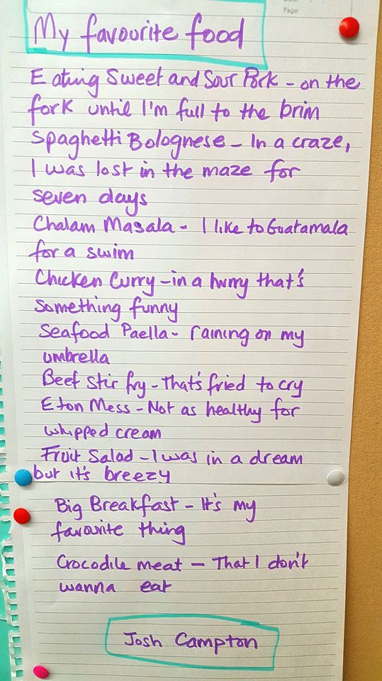 A picture of a handwritten poem called my favourite food