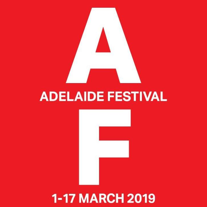 Adelaide Festival logo. White 'A' and 'F' block letters sit in front of a red background