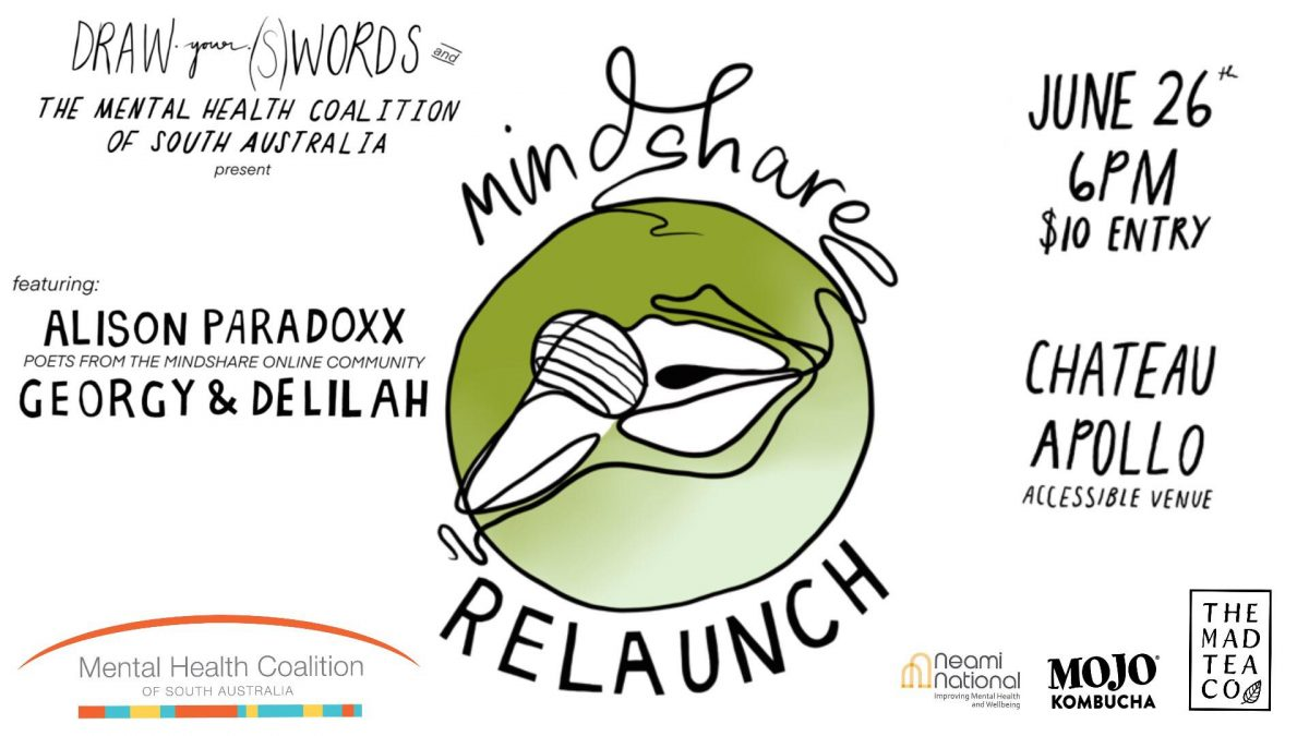 "A central image of a line-drawing of lips speaking into a microphone. Around the image are the words ""mindshare Relaunch"". Sponsors logos circle the central image."